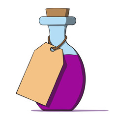 Cartoon bottle with a tag. Vector illustration