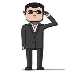 Funny cartoon bodyguard. Security. Vector illustration