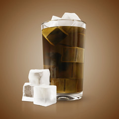 Soda in glass with ice cubes