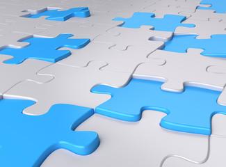 puzzlefläche blaue puzzleteile