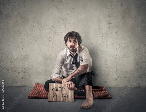 homeless businessman