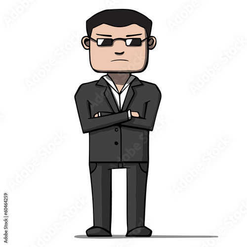 Funny cartoon bodyguard. Security. Vector illustration