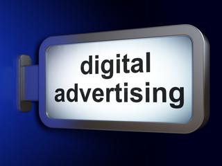 Marketing concept: Digital Advertising on billboard background