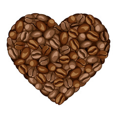 Heart of coffee beans. Vector illustration.