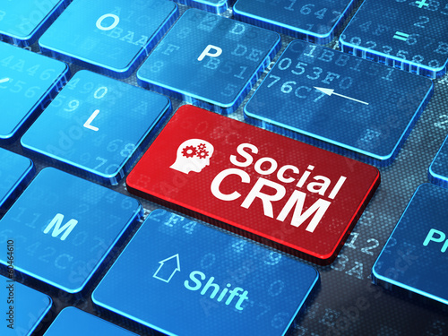 Finance concept: Head With Gears and Social CRM on computer