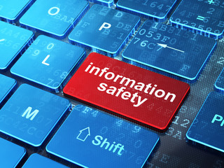 Safety concept: Information Safety on computer keyboard