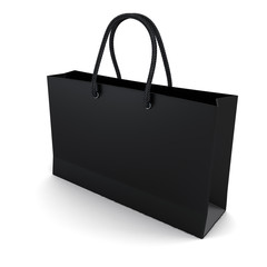 Shopping bag black isolated