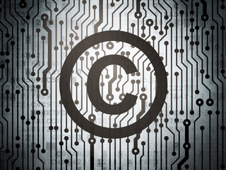 Law concept: circuit board with Copyright