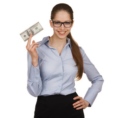 Smiling woman holding a hundred dollar bill