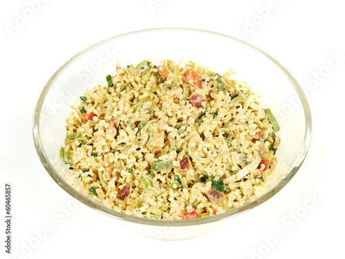 Bulgur salad in a glass bowl