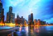 Leinwanddruck Bild - Downtown Chicago, IL at sunset