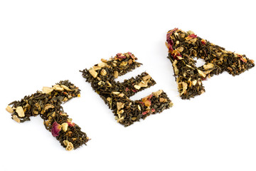 The word tea spelled with tea