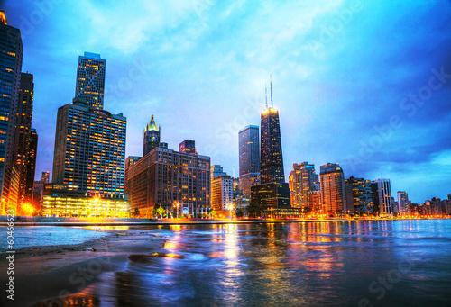 Leinwanddruck Bild Downtown Chicago, IL at sunset
