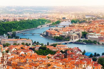 Vltava river and bridges in Prague
