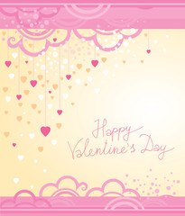 Vector festive decoration cards for Valentine's Day. Pink color