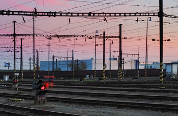 Railway Tracks at a pink  colorful sunset