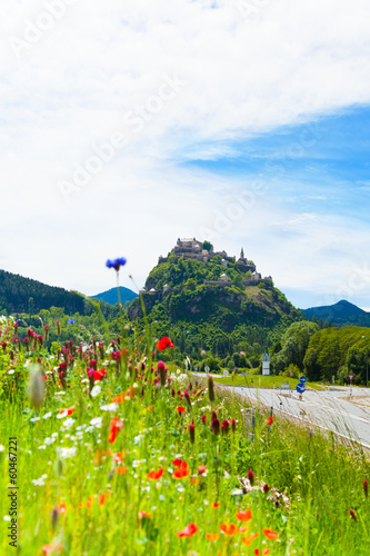 Hochosterwitz castle in Austria among poppy flowers