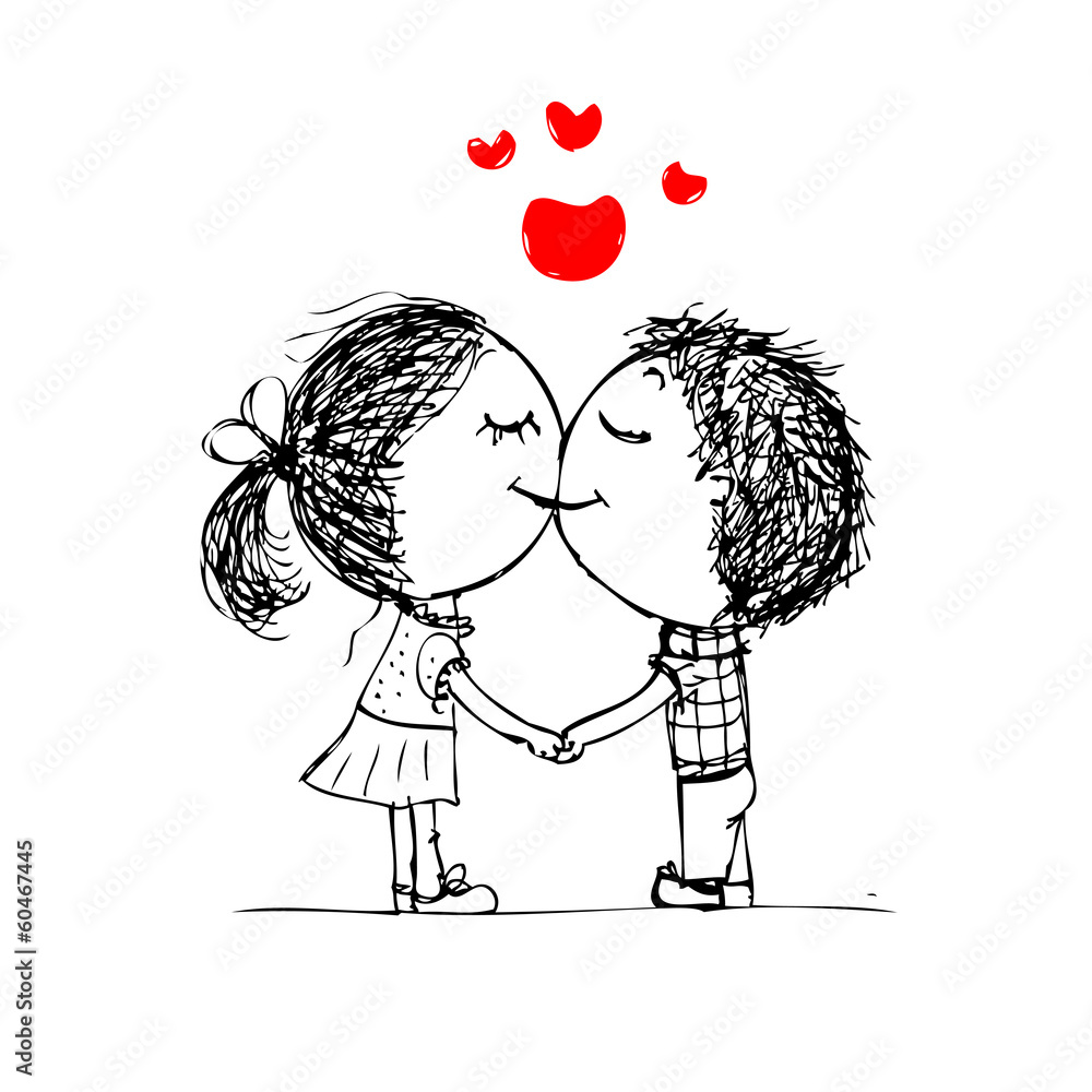Couple Kissing Valentine Sketch For Your Design Wall Sticker ... for Couple Sticker Line  589ifm