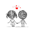 Couple in love together, valentine sketch for your design - 60467435
