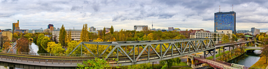 Panorama in Berlin with railroad on first plane