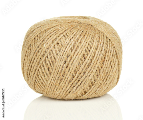 Ball of Natural String on White Background