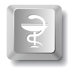 Pharma symbol. Vector computer key.
