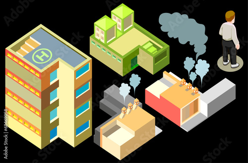 factory isometric. infographic elements on black background