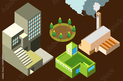 building and factory cute isometric.infographic elements