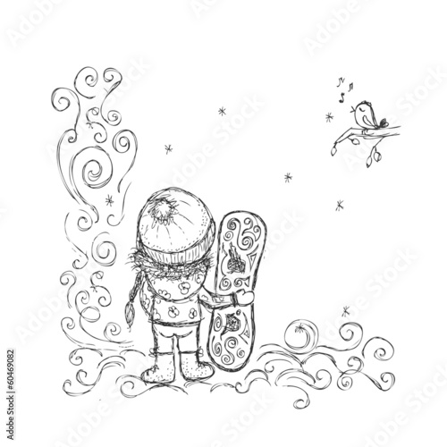 Cute girl with snowboard, sketch for your design