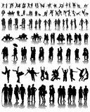 Silhouettes with  shadows of couples, vector