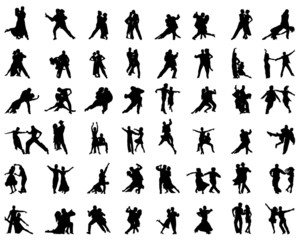 Silhouettes of tango players, vector
