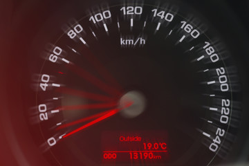 Speedometer close up view. White and red