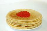 Pancakes whith red caviar.