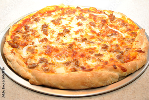 Cooked Hot Sausage and Onion Pizza Pie