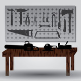 workroom with hand tools and workbench eps10 poster