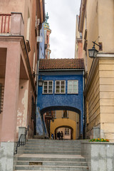 Narrow street in Warsaw old city - Poland