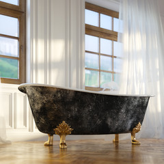 Luxury Retro Bathtub In Modern Room Interior 2d Version