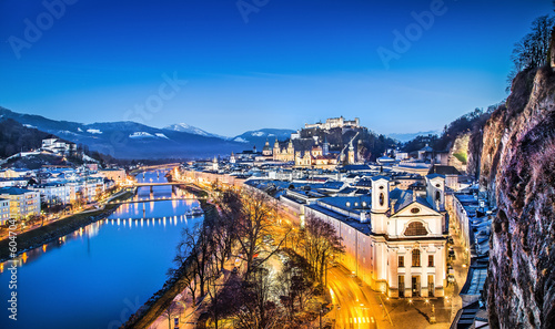 Historic city of Salzburg at blue hour, Salzburger Land, Austria