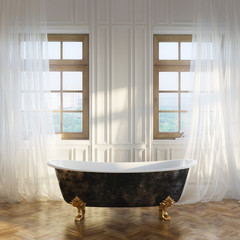 Luxury Retro Bathtub In Modern Room Interior 1st Version