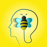 Human head with paper bee - symbol of endurance and courage - de poster