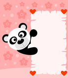 Pink Valentines day background card with panda