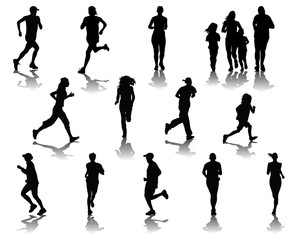 Silhouettes and shadows of people running, vector