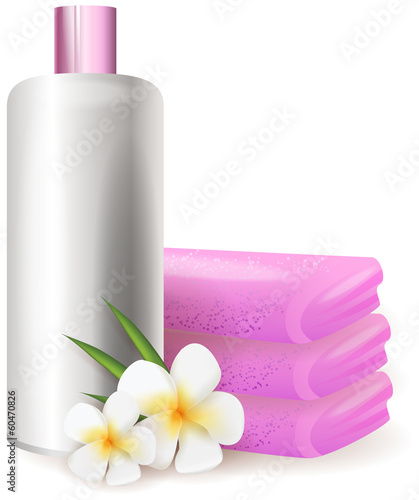 Shampoo with plumeria flowers background