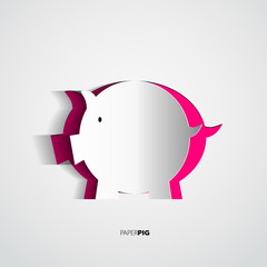 Paper pig cutted from paper - vector card