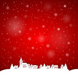Papercut little village - Merry Christmas illustration EPS10 poster