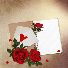 Vintage background with red roses, notepad and heart