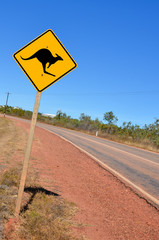 Warning Sign on a Curving Road in the Australian Outback