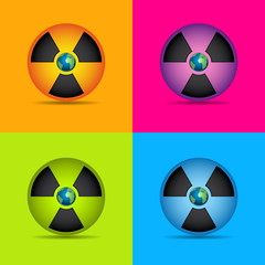 Nuclear radiation symbol set with earth isolated on grey backgro
