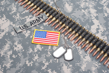 US ARMY concept - camouflage background with US flag