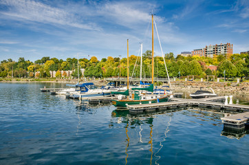 Yachts in Harbour and Autumn Colours